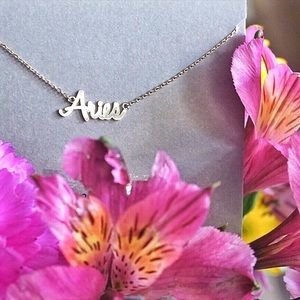 Gold | Aries Zodiac Necklace | Dainty Text Pendant